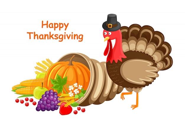 トルコベクトルと幸せな感謝祭のグリーティングカード Premiumベクター