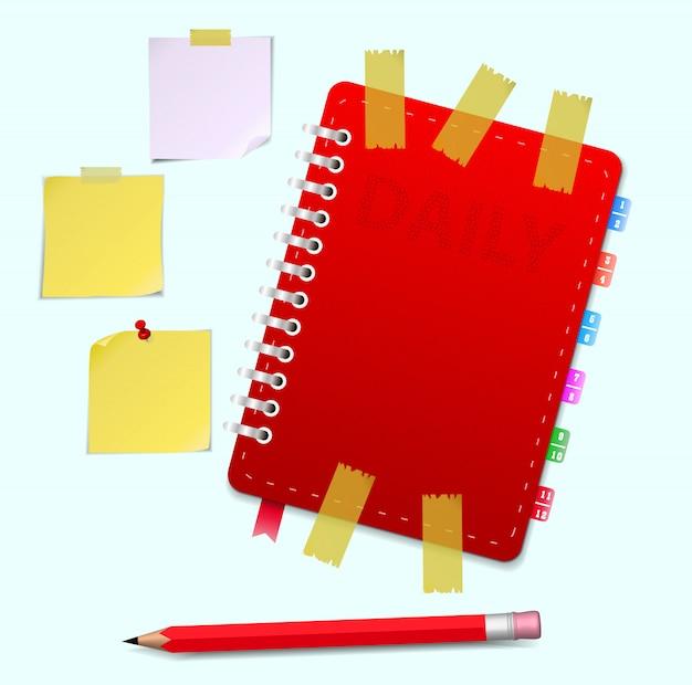 Кожаный блокнот и карандаш векторная иллюстрация Premium векторы