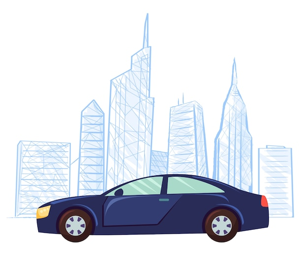 車の街並みのスケッチスケッチ高層ビルベクトル Premiumベクター