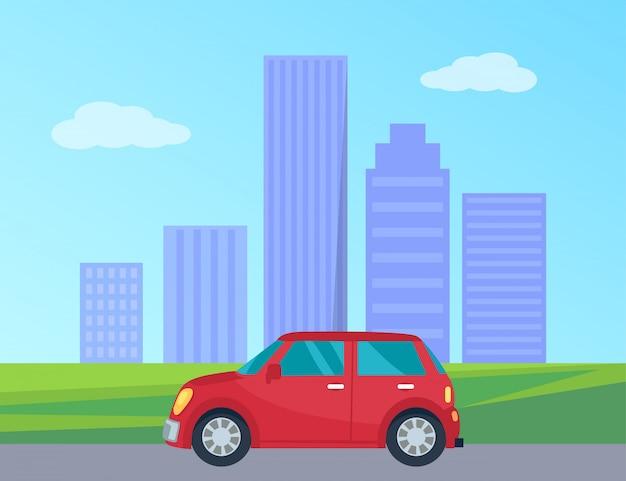 Частный автомобиль в городе векторная иллюстрация Premium векторы