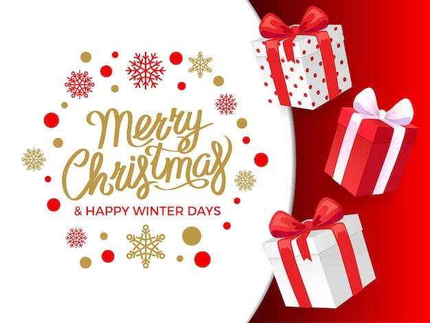 メリークリスマスと幸せな冬の日プレゼントバナー Premiumベクター