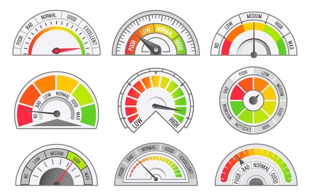 速度計と走行距離計のスケールとポインター Premiumベクター