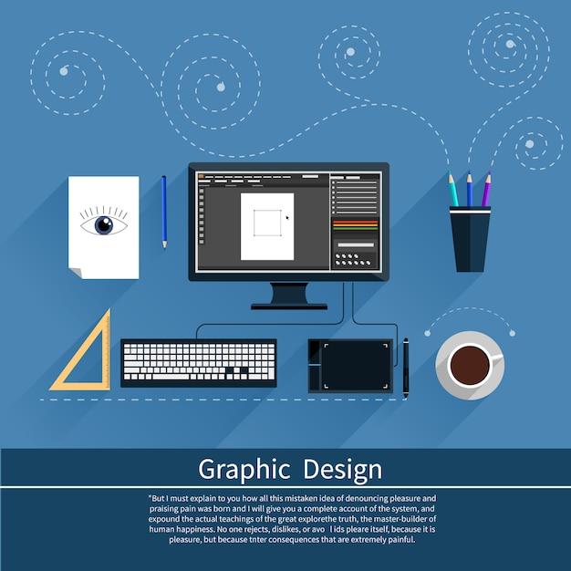 グラフィックデザイン、デザイナーツール、およびコンピューターに囲まれたデザイナー装備のフラットデザインのソフトウェア Premiumベクター