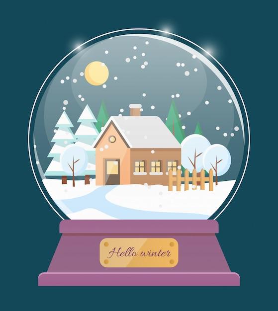 こんにちは、村の家と冬の雪の世界 Premiumベクター
