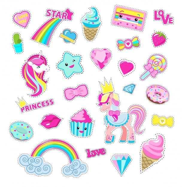 Девушки фея набор наклеек. симпатичные карикатуры пони принцы, сладости и игрушки плоский вектор изолированные Premium векторы
