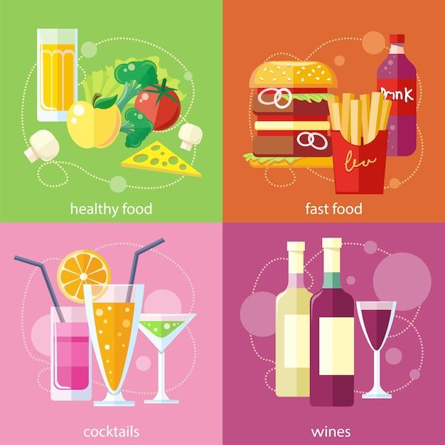 カクテルはフルーツジュースを飲みます。有機健康食品ファーストフードのフライドポテトハンバーグソーダ飲み物。 Premiumベクター
