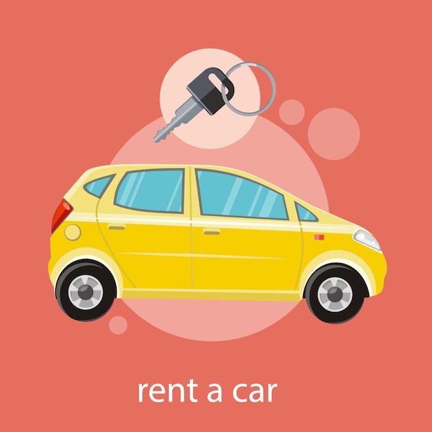 キーを持つ黄色い車。フラットなデザイン漫画スタイルで車のコンセプトを借りる Premiumベクター