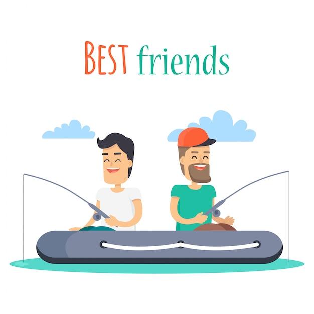 インフレータブルボートで釣りをする親友 Premiumベクター