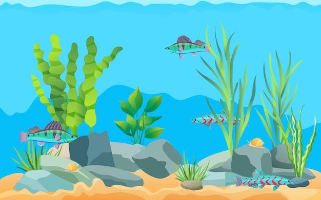 カラフルな漫画水族館の魚 Premiumベクター