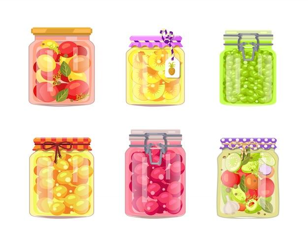缶詰の野菜の保存果物と果実 Premiumベクター