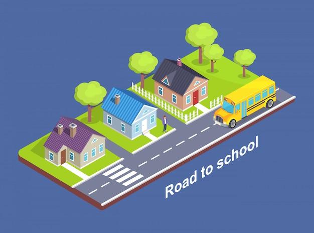 横断歩道でコテージタウンを通って学校への道 Premiumベクター
