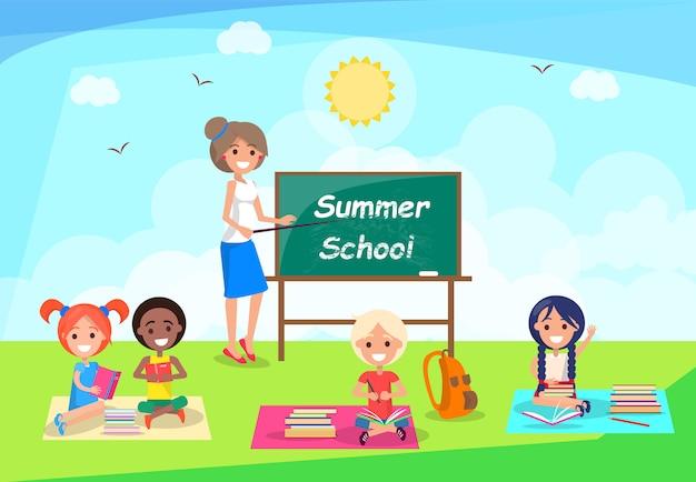 黒板の近くに立って先生と夏の学校バナー Premiumベクター