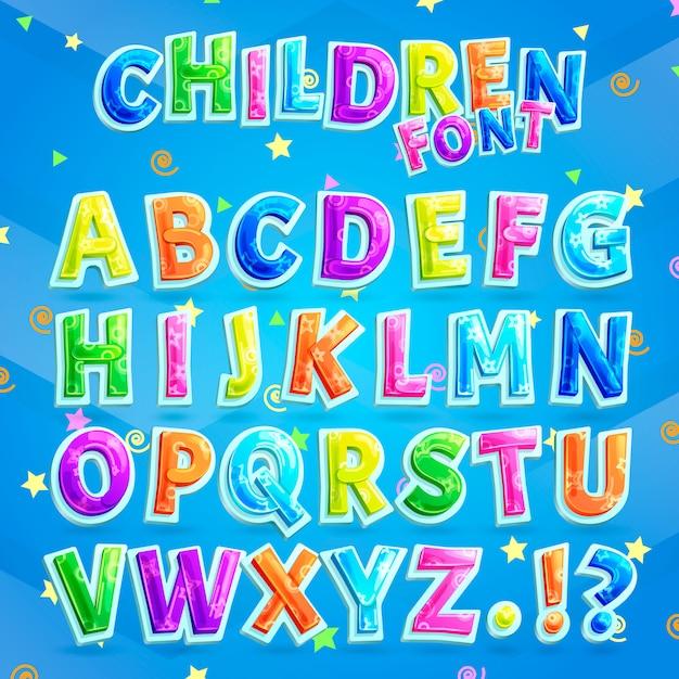 子供フォントベクトル。質問と感嘆符と共に子供のためのカラフルな大文字アルファベット Premiumベクター