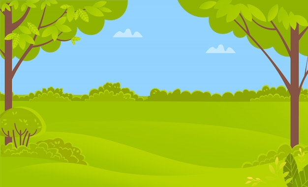 Зеленый пейзаж с деревьями и кустарниками, лесной вектор Premium векторы