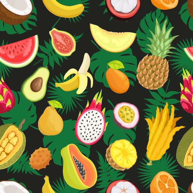 熱帯のエキゾチックなフルーツグリーンリーフのシームレスパターン Premiumベクター