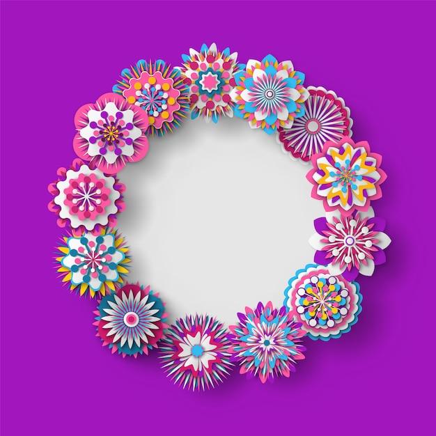 花飾り丸みを帯びた形状のフレームバナー Premiumベクター
