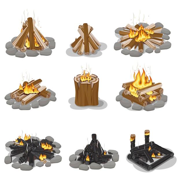 燃えるキャンプファイヤーログコレクションの分離 Premiumベクター
