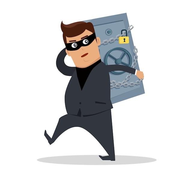 お金を盗むコンセプトフラット Premiumベクター