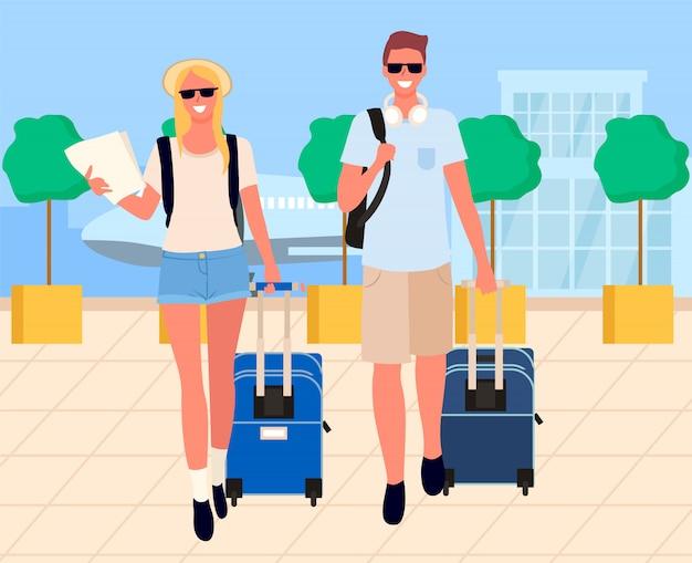 Прибытие путешественников, туристов в аэропорту Premium векторы
