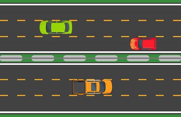 木の自動車と高速道路交通の概念 Premiumベクター
