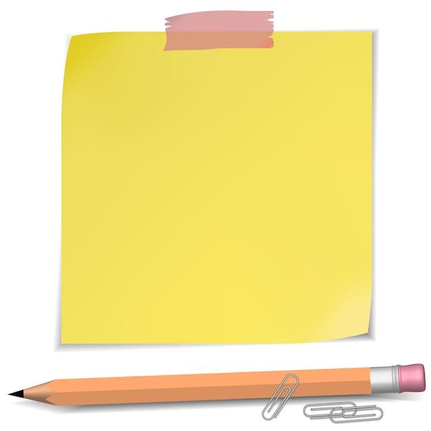 ピンと鉛筆を使用した粘着メモ Premiumベクター