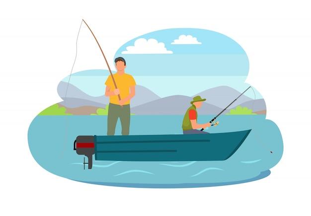 Рыбак рыбалка с лодки векторная иллюстрация Premium векторы