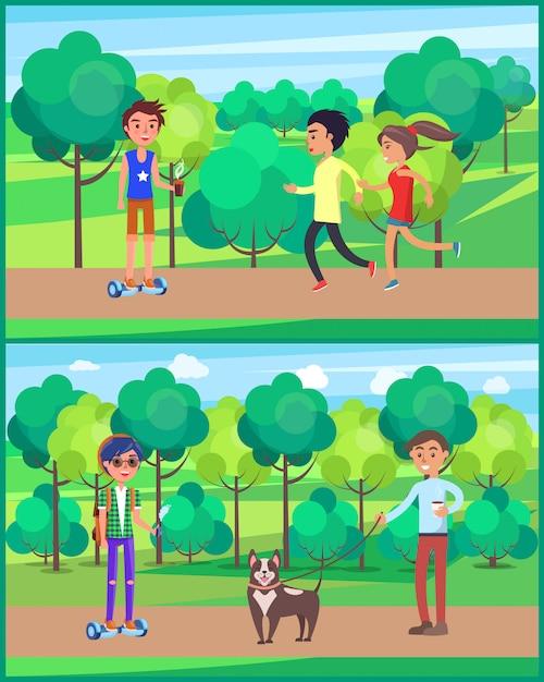 若い十代、公園でジョギングする人々セット図 Premiumベクター