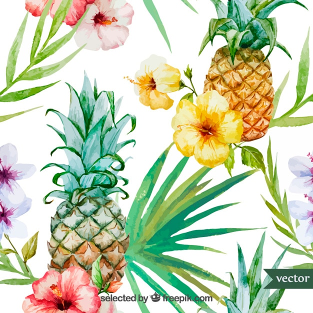 水彩トロピカルフルーツや植物 無料ベクター