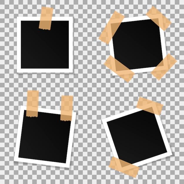Набор квадратных векторных фоторамок. Premium векторы