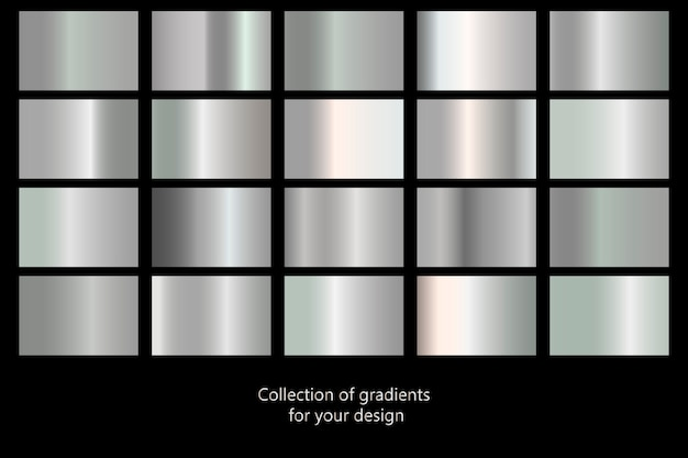 Коллекция серебряных градиентных фонов. набор серебряных металлических текстур. векторная иллюстрация Premium векторы