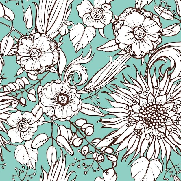 青い背景に花のパターン 無料ベクター