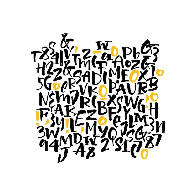 手書きのスクリプトフォント。ブラシフォント。大文字、数字、句読点 無料ベクター