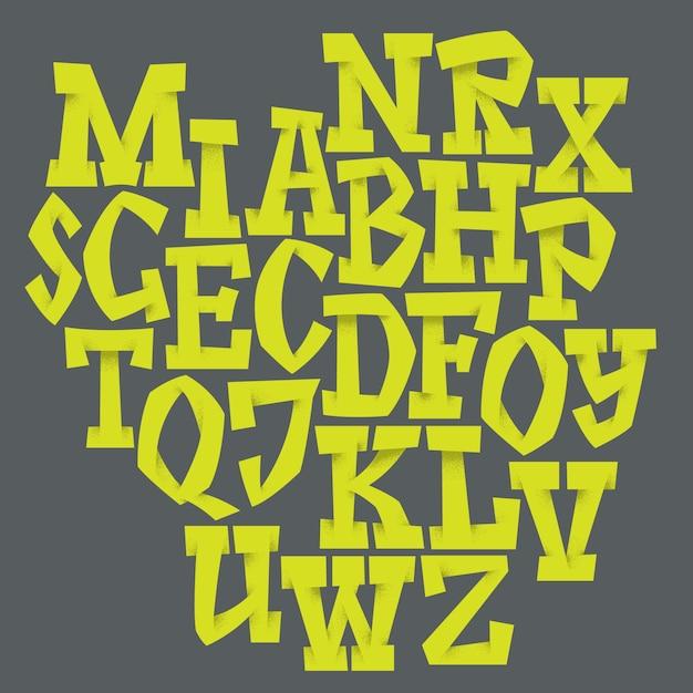 Рукописный шрифт сценария. шрифт кисти. верхний регистр, цифры, знаки препинания Бесплатные векторы