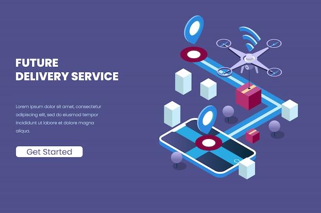等角投影図スタイルで自動化された将来の技術のドローンと配信サービス Premiumベクター