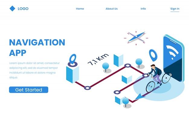 Направление мобильного приложения для отслеживания в изометрическом стиле иллюстрации, навигация Premium векторы