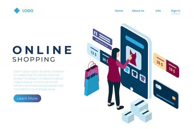 Женщина проводит онлайн-транзакцию, используя кредитную карту в изометрическом стиле Premium векторы