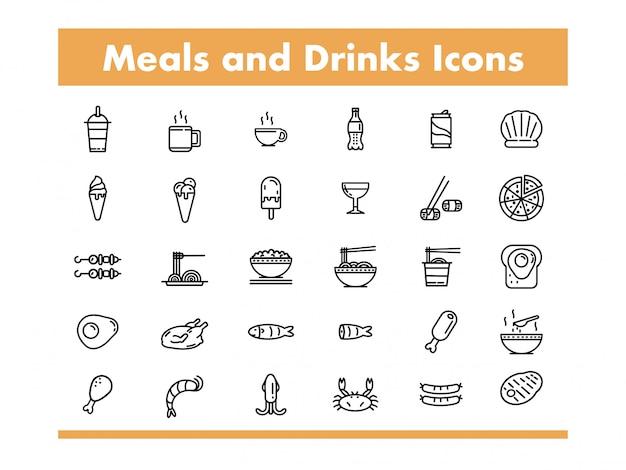ラインスタイルのベクトル図の食事と飲み物のアイコン Premiumベクター