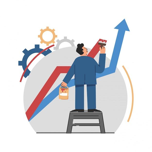 ビジネスパフォーマンスのビジネスマン絵画曲線 Premiumベクター