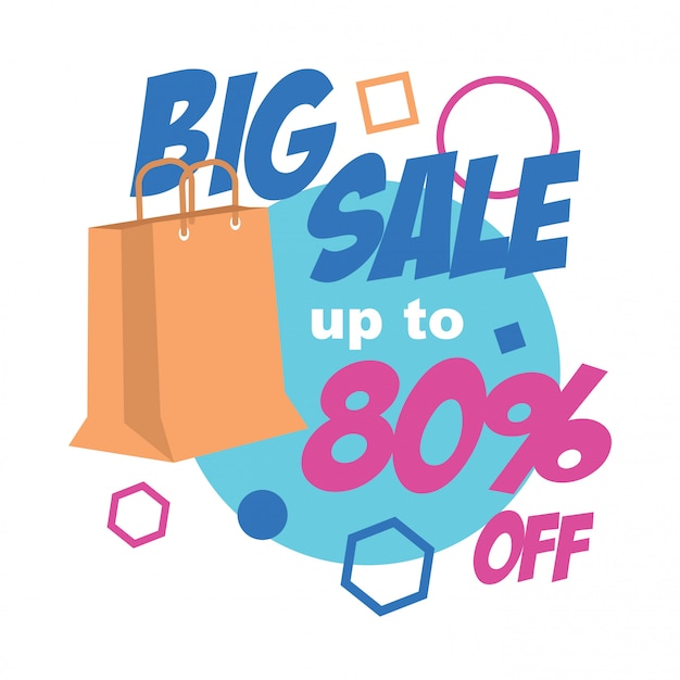 ショッピングバッグのイラストが大きなセールバナー Premiumベクター