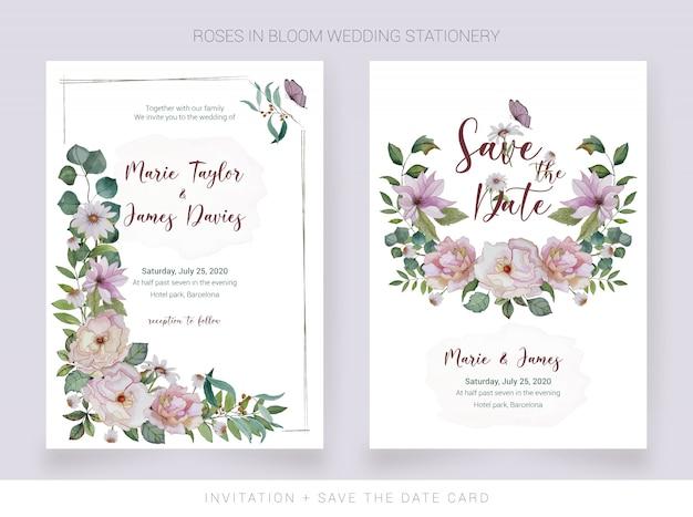 水彩の招待状と花を描いた日付カードを保存 Premiumベクター