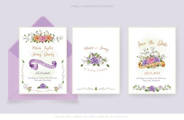 水彩の結婚式の招待カードと日付カードを保存 Premiumベクター