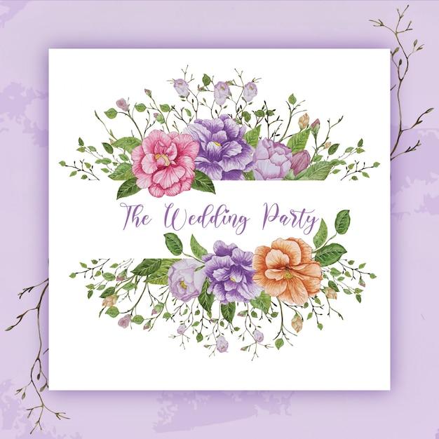 水彩花の結婚式のフレーム Premiumベクター