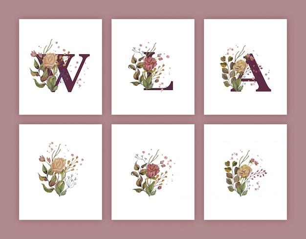 Осенние акварельные украшения для писем с золотом Premium векторы