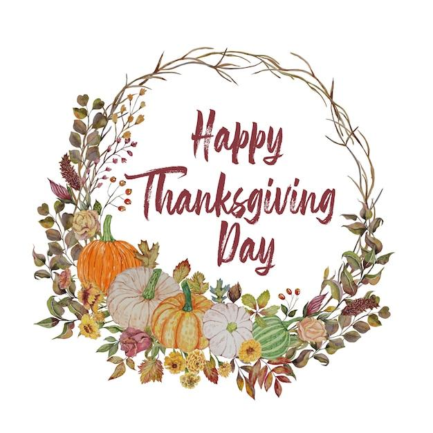 秋の花輪とカボチャの感謝祭カード Premiumベクター