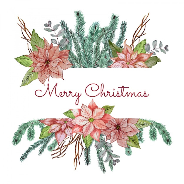 花と枝のクリスマスバナー Premiumベクター