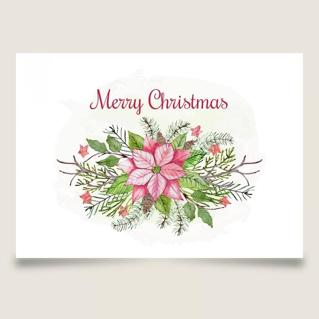 Красивая рождественская открытка с розовым цветком и звездой Premium векторы