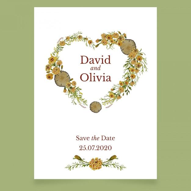黄色の花の心と結婚式の招待カード Premiumベクター