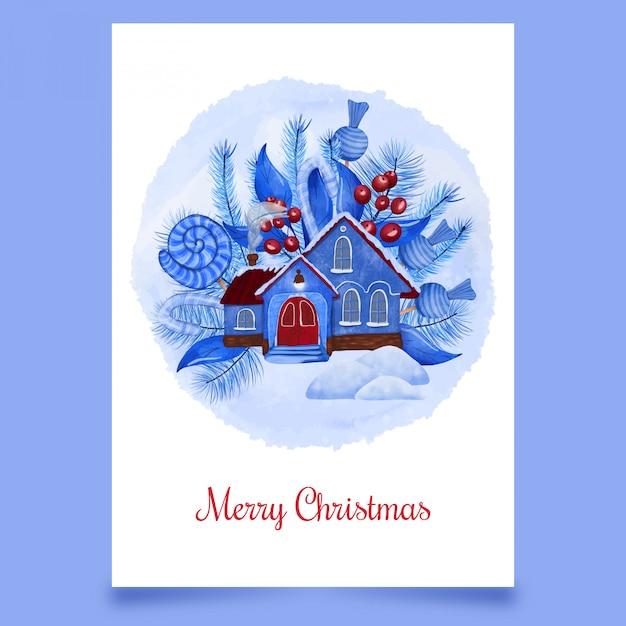 青い家とクリスマスはがき雪 Premiumベクター