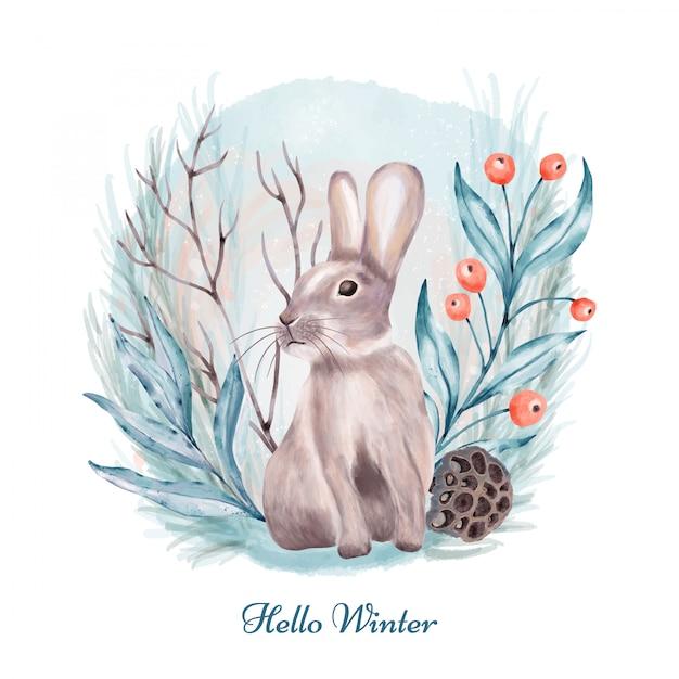 Кролик в лесу Premium векторы