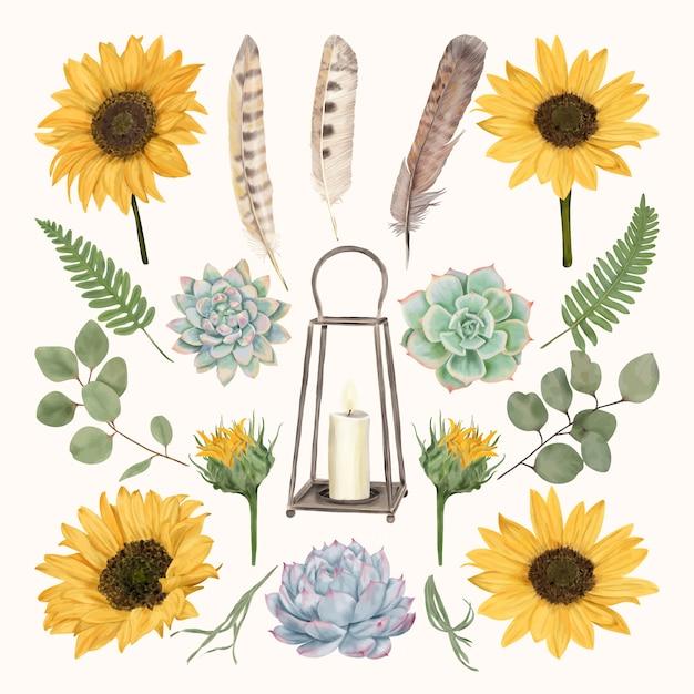 花と羽を持つヴィンテージランタン Premiumベクター